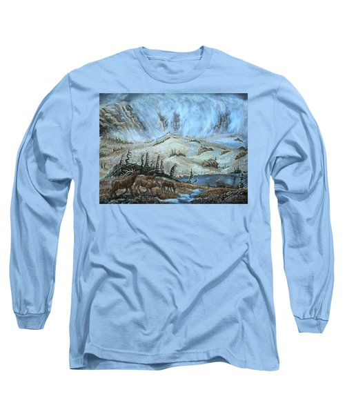 Long Sleeve T-Shirt featuring the painting Medicine Bow Peak In Clouds With Elk by Dawn Senior-Trask