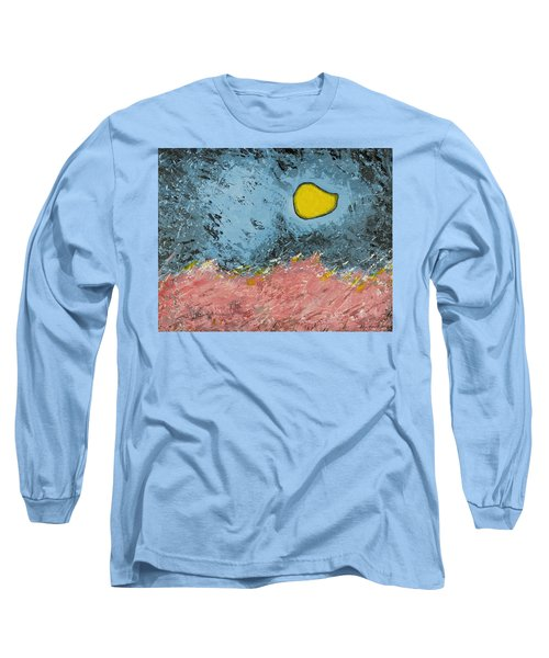 Long Sleeve T-Shirt featuring the painting Melting Moon Over Drifting Sand Dunes by Ben Gertsberg