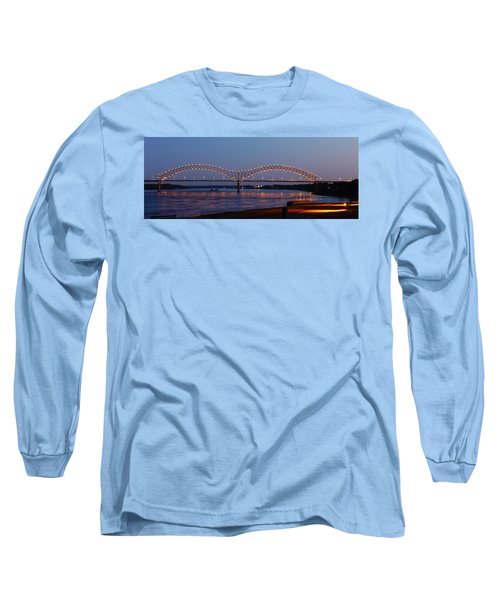 Memphis - I-40 Bridge Over The Mississippi 2 Long Sleeve T-Shirt by Barry Jones