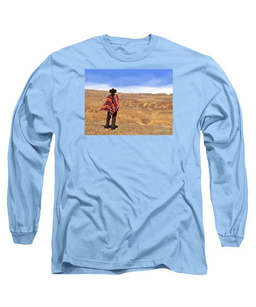 Man In A Poncho In The Desert Long Sleeve T-Shirt