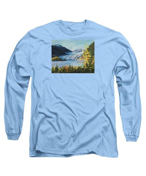 Long Sleeve T-Shirt featuring the painting Mendenhall Glacier Juneau Alaska by Yulia Kazansky