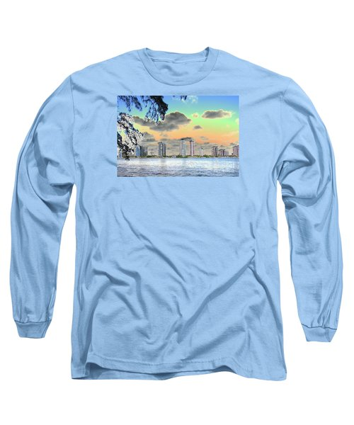 Miami Skyline Abstract Long Sleeve T-Shirt by Christiane Schulze Art And Photography