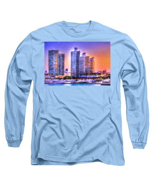 Long Sleeve T-Shirt featuring the photograph Miami Skyline Sunrise by Shelley Neff