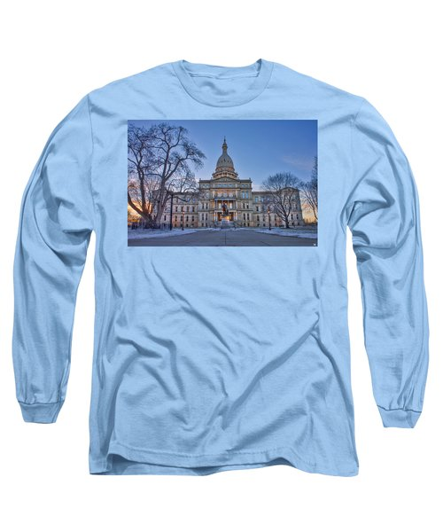 Long Sleeve T-Shirt featuring the photograph Michigan State Capitol by Nicholas Grunas