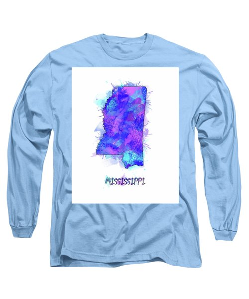 Mississippi Map Watercolor 2 Long Sleeve T-Shirt