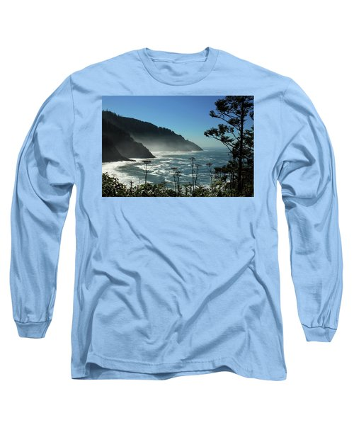 Misty Coast At Heceta Head Long Sleeve T-Shirt