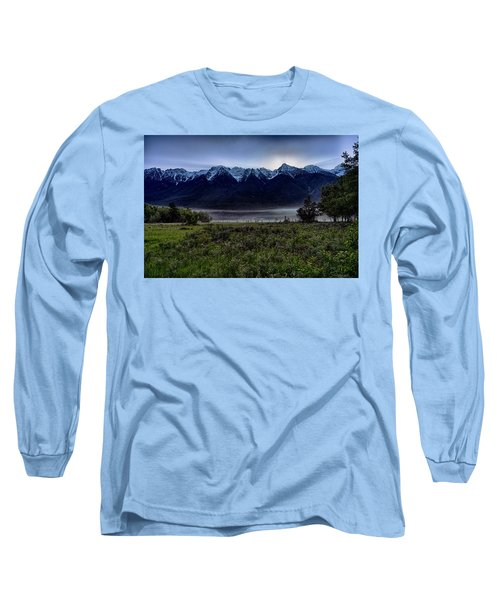 Long Sleeve T-Shirt featuring the photograph Misty Mountain Morning Meadow  by Darcy Michaelchuk