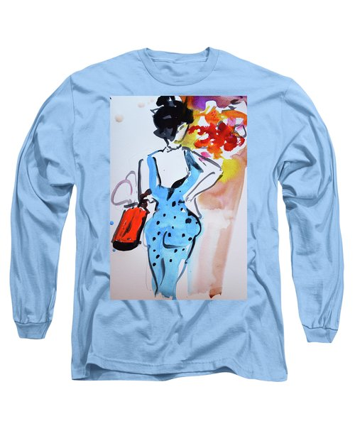 Model With Flowers And Red Handbag Long Sleeve T-Shirt by Amara Dacer