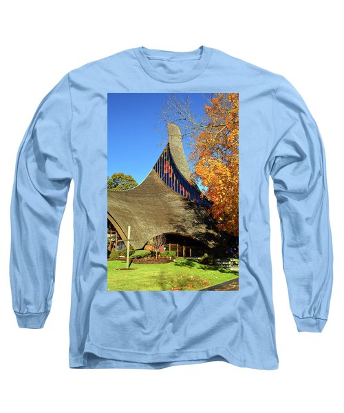 Modern New England Church In Fall Long Sleeve T-Shirt