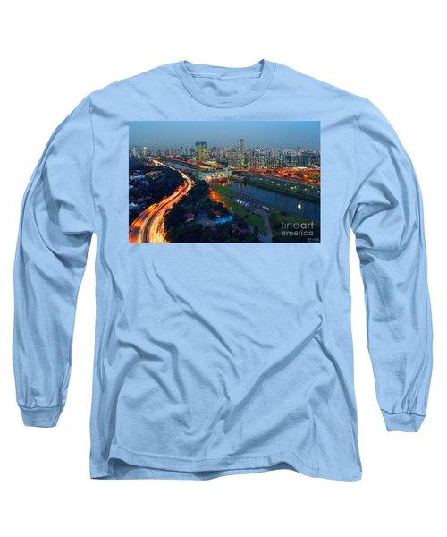 Modern Sao Paulo Skyline - Cidade Jardim And Marginal Pinheiros Long Sleeve T-Shirt