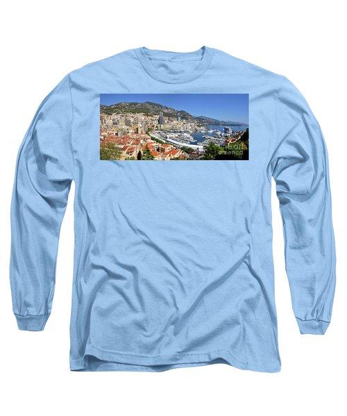 Long Sleeve T-Shirt featuring the photograph Monaco Port Hercule Panorama by Yhun Suarez