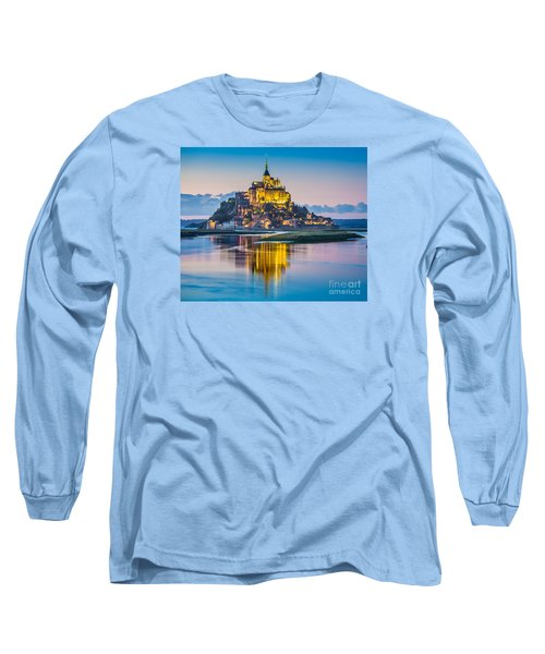 Mont Saint-michel In Twilight Long Sleeve T-Shirt by JR Photography