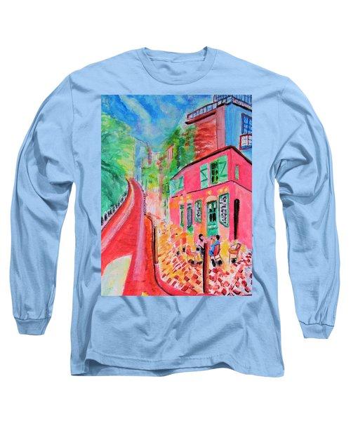 Montmartre Cafe In Paris Long Sleeve T-Shirt