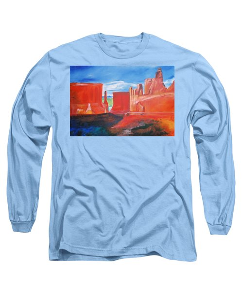 Long Sleeve T-Shirt featuring the painting Monument Valley  by Eric  Schiabor