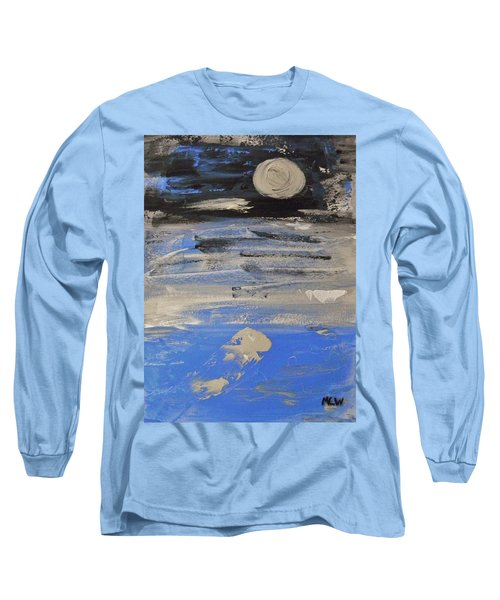 Moon In October Sky Long Sleeve T-Shirt by Mary Carol Williams