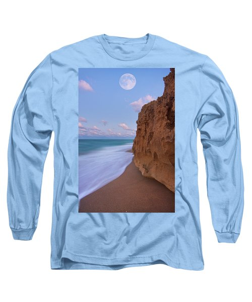 Moon Over Hutchinson Island Beach Long Sleeve T-Shirt