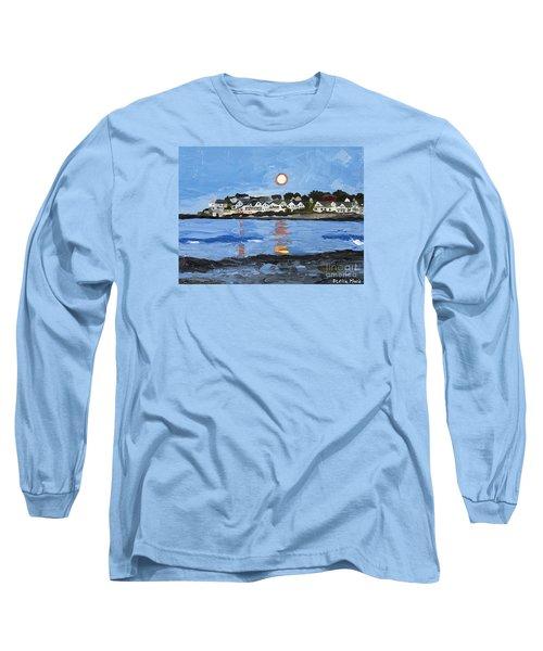 Moon Over York Beach Long Sleeve T-Shirt