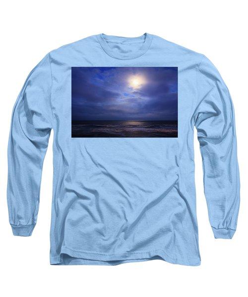 Moonlight On The Ocean At Hatteras Long Sleeve T-Shirt by Joni Eskridge