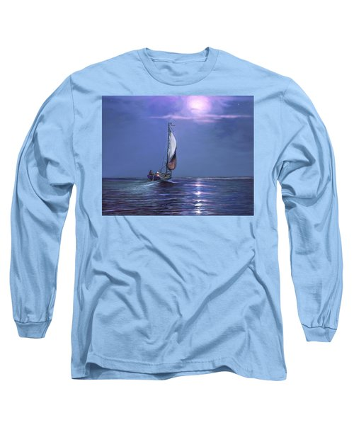 Long Sleeve T-Shirt featuring the painting Moonlight Sailing by David  Van Hulst