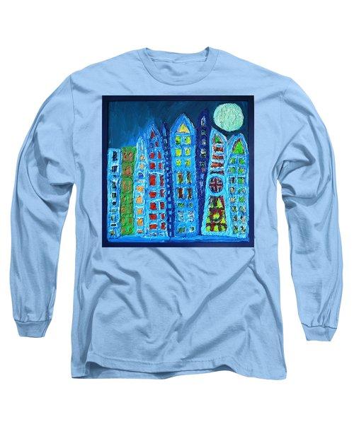 Moonlit Metropolis Long Sleeve T-Shirt by Darrell Black