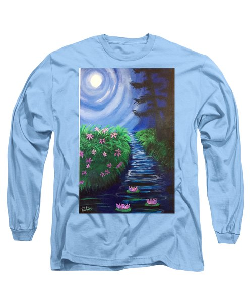 Long Sleeve T-Shirt featuring the painting Moonlit Stream by Diana Riukas