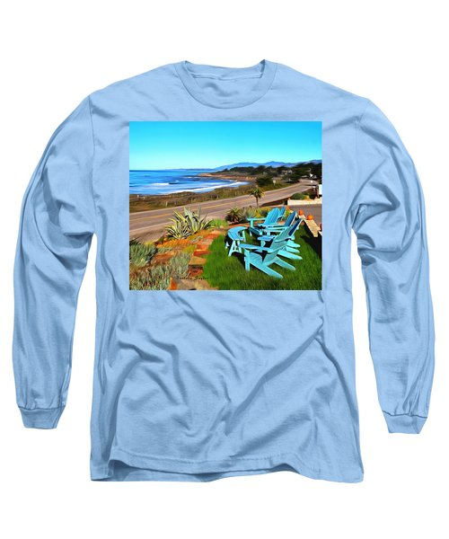 Long Sleeve T-Shirt featuring the photograph Moonstone Beach Seat With A View Digital Painting by Barbara Snyder
