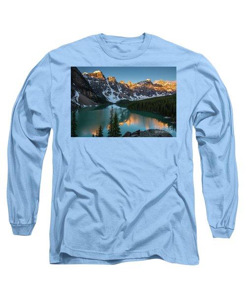 Moraine Lake Golden Sunrise Reflection Long Sleeve T-Shirt