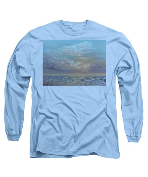 Long Sleeve T-Shirt featuring the painting Morning At The Ocean by Luczay