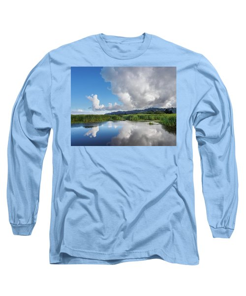 Morning Reflections On A Marsh Pond Long Sleeve T-Shirt by Greg Nyquist