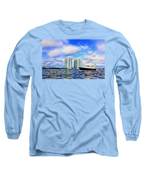 Motoring Past The Marina Grande Long Sleeve T-Shirt by Alice Gipson