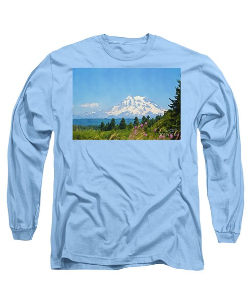 Mount Rainier Watercolor Long Sleeve T-Shirt