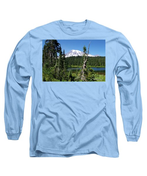 Mountain Lake And Mount Rainier Long Sleeve T-Shirt by Ansel Price