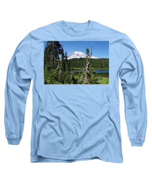 Mountain Lake And Mount Rainier Long Sleeve T-Shirt