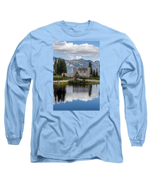 Mt Baker Lodge Reflecting In Picture Lake 3 Long Sleeve T-Shirt by Rob Green