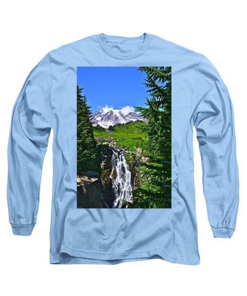 Mt. Rainier From Myrtle Falls Long Sleeve T-Shirt
