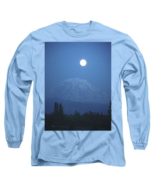 Mt Rainier Full Moon Long Sleeve T-Shirt
