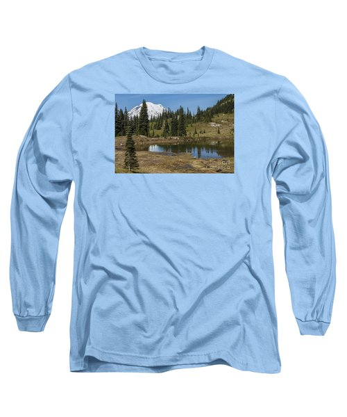 Mt Rainier Reflection Landscape Long Sleeve T-Shirt by Chuck Flewelling