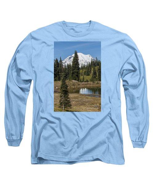 Mt Rainier Reflection Portrait Long Sleeve T-Shirt by Chuck Flewelling