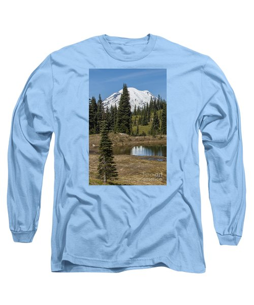 Mt Rainier Reflection Portrait Long Sleeve T-Shirt