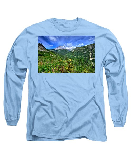 Mt. Rainier Through The Clouds  Long Sleeve T-Shirt