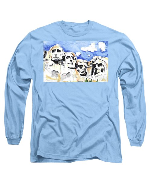 Long Sleeve T-Shirt featuring the painting Mt. Rushmore, Usa by Terry Banderas