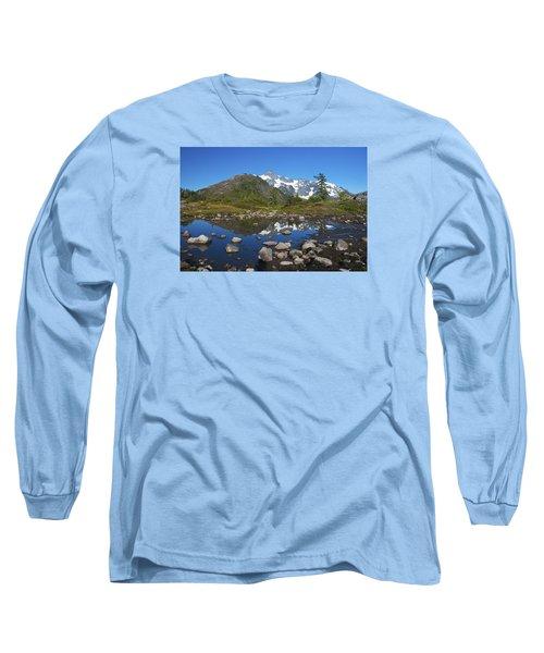 Mt. Shuksan Puddle Reflection Long Sleeve T-Shirt by Scott Cunningham