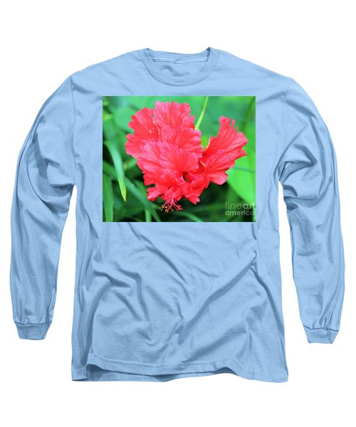 Multi-layered Red Hibiscus Long Sleeve T-Shirt