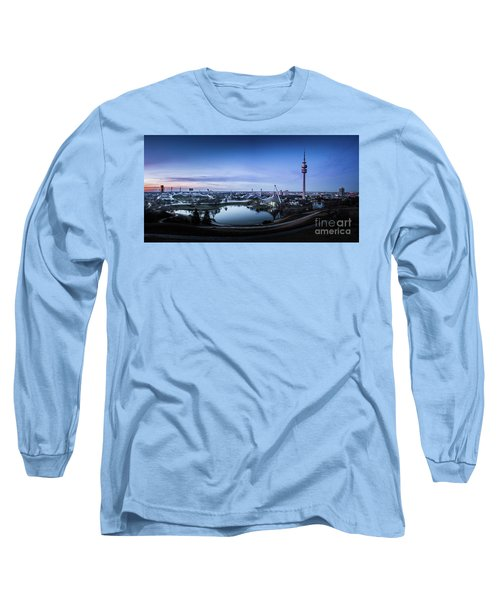 Long Sleeve T-Shirt featuring the photograph Munich - Watching The Sunset At The Olympiapark by Hannes Cmarits