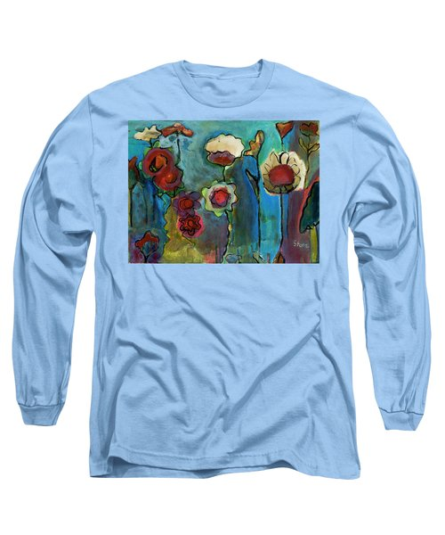 Long Sleeve T-Shirt featuring the painting My Mother's Garden by Susan Stone