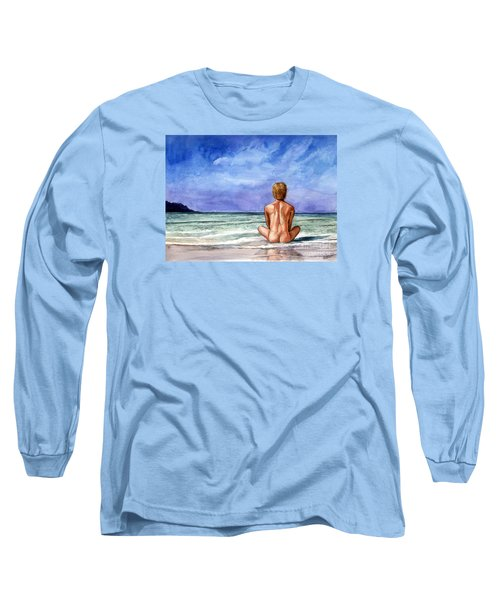 Naked Male Sleepy Ocean Long Sleeve T-Shirt