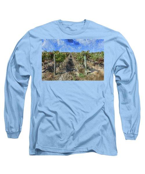 Napa Valley Vineyard - Rows Of Grapes Long Sleeve T-Shirt