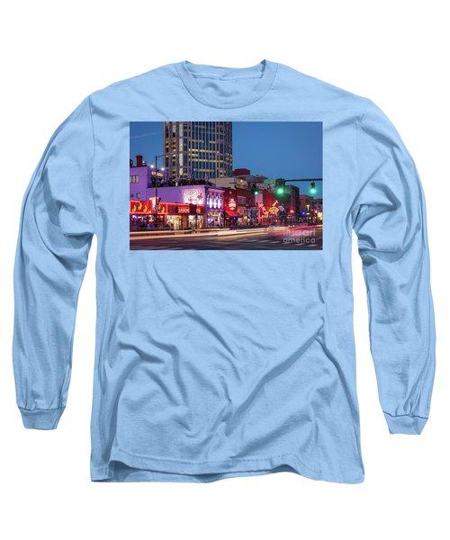 Long Sleeve T-Shirt featuring the photograph Nashville - Broadway Street by Brian Jannsen