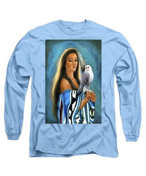 Native American Maiden With Falcon Long Sleeve T-Shirt