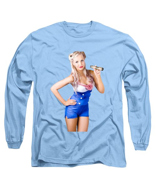 Nautical Woman In Sailor Outfit Long Sleeve T-Shirt